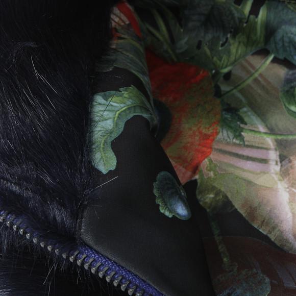 Ted Baker Womens Blue Arba Zip High Neck Faux Fur Collar main image