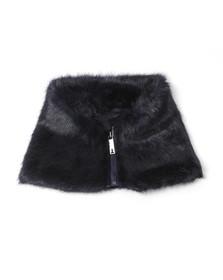 Ted Baker Womens Blue Arba Zip High Neck Faux Fur Collar