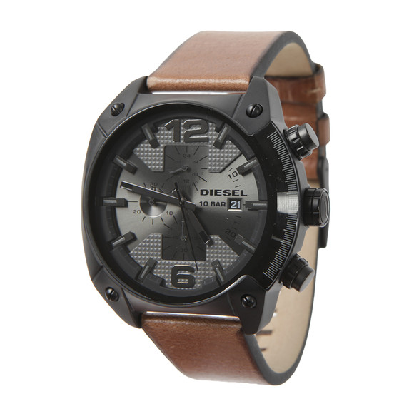 Diesel Mens Black Overflow DZ4317 Leather Strap Chrono Watch main image