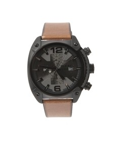 Diesel Mens Black Overflow DZ4317 Leather Strap Chrono Watch