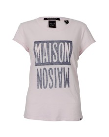 Maison Scotch Womens Pink Short Sleeve Logo Themed T-Shirt