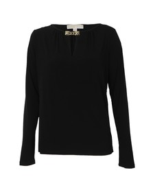 Michael Kors Womens Black Pyramid Stud Trim Top