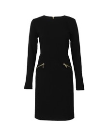 Michael Kors Womens Black Long Sleeve Solid Zip Seam Dress