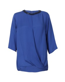 Michael Kors Womens Blue Embellished Neck Top