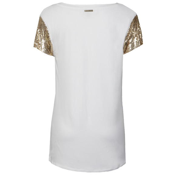 Michael Kors Womens White Chain Mesh Crew Top main image