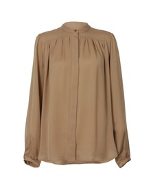 Michael Kors Womens Brown Pleated Blouse