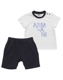 Armani Junior  Boys White ADT03 Top & Short Set