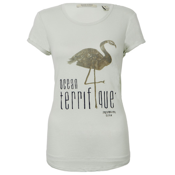 Maison Scotch Womens Green Short Sleeve T-Shirt With Print main image