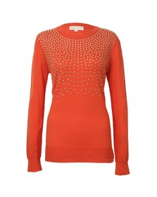 Michael Kors Womens Orange Stud Uneven Hem Jumper