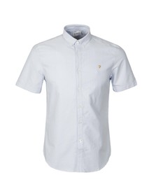 Farah Mens Blue Brewer Slim SS Shirt