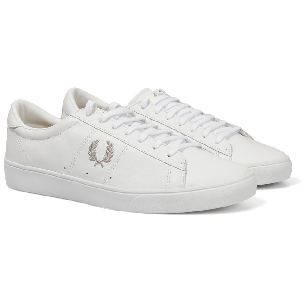 82d514632fe Fred Perry Sportswear Mens White Spencer Leather Trainers main image.  Loading zoom