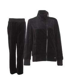 EA7 Emporio Armani Womens Black train velour tracksuit