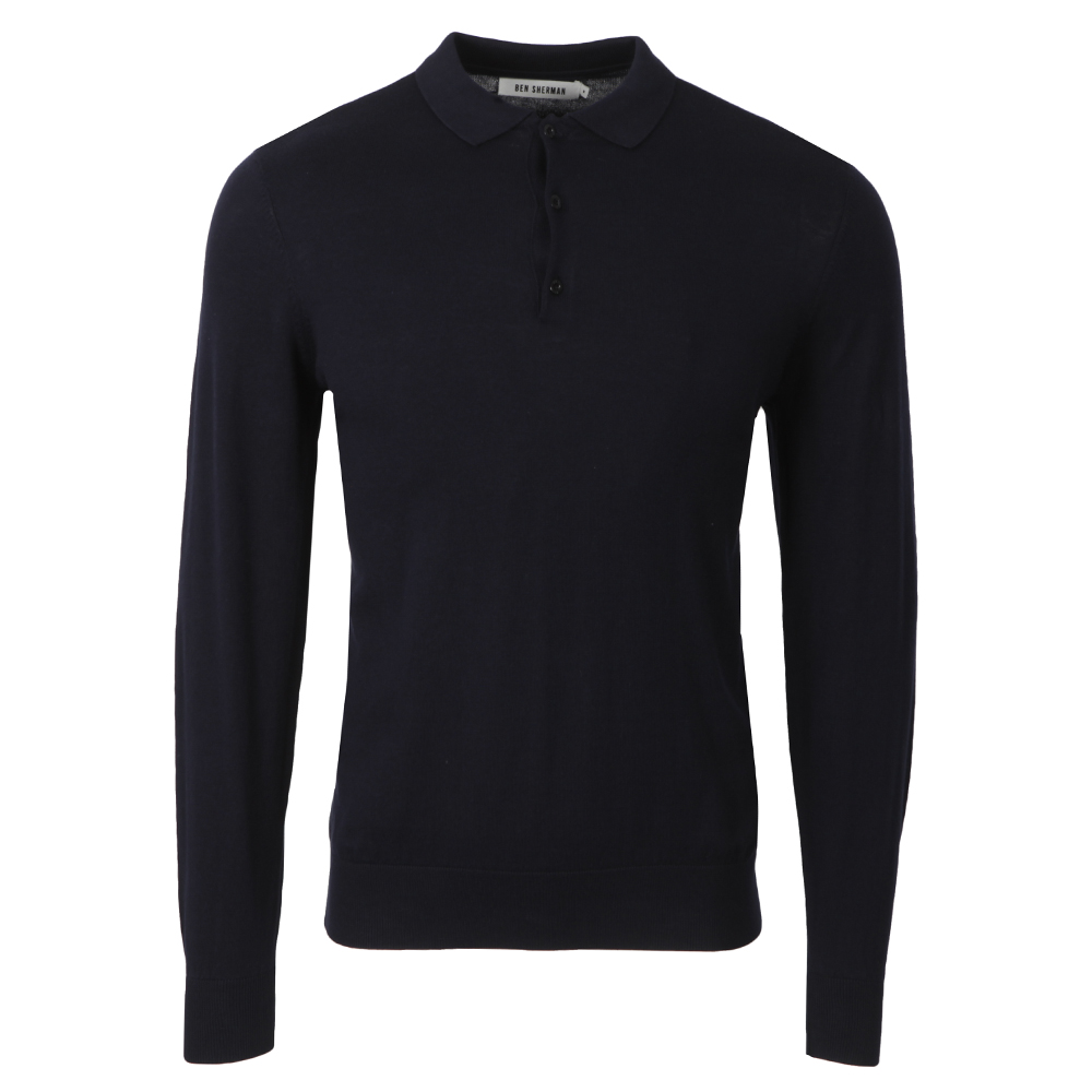 4a4c95fd6 Ben Sherman Mens Blue ME00181 Knitted Long Sleeve Polo