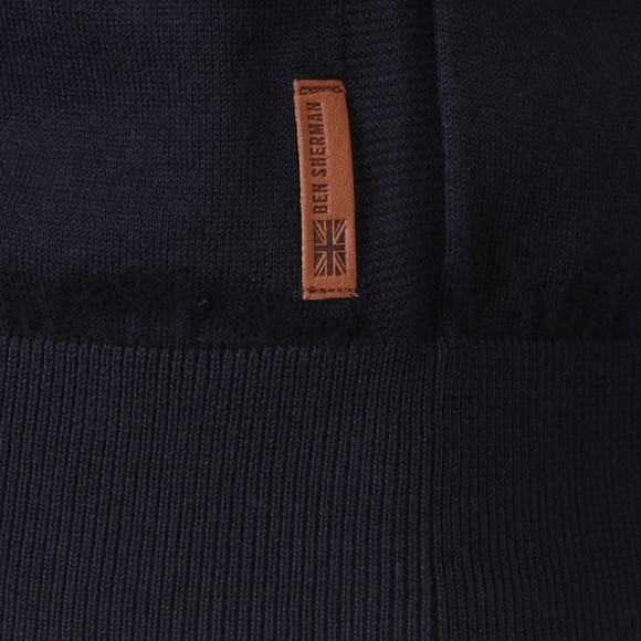 a36077371 Ben Sherman Mens Blue ME00181 Knitted Long Sleeve Polo main image