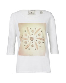 Maison Scotch Womens Off-white 3/4 Sleeve Relaxed Fit Tee