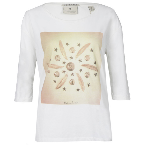 Maison Scotch Womens Off-white 3/4 Sleeve Relaxed Fit Tee main image