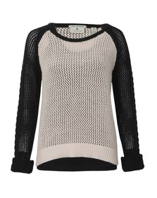 Maison Scotch Womens Black Mesh Knitted Sweater With Tank