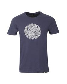 Pretty Green Mens Blue Printed Linear Logo T Shirt