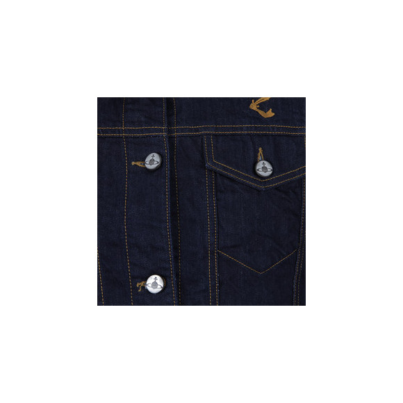 Vivienne Westwood Anglomania Womens Blue Cropped Riding Denim Jacket main image