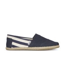 Toms Mens Blue Classic University Stripe Rope Slip On