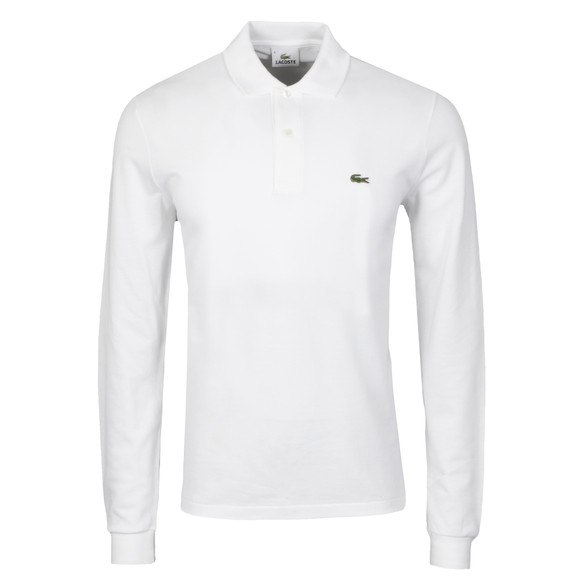 Lacoste Mens White L1312 Long Sleeve Polo
