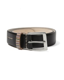 Paul Smith Jeans Mens Black Bright Signature Stripe Keeper Belt