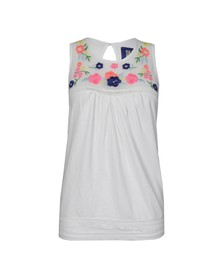 Superdry Womens White Mesh Yoke Shell Top