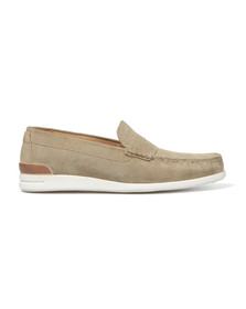H By Hudson Mens Beige McCall Suede Boat Shoe