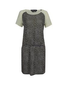 Maison Scotch Womens Grey Burnout Jersey and Woven Dress