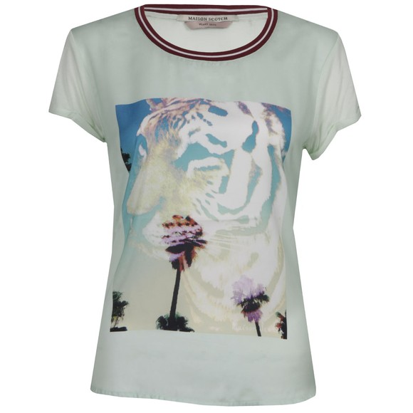 Maison Scotch Womens Green Short Sleeve Photoprinted Top main image