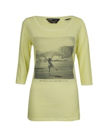 Maison Scotch Womens Yellow 3/4 Sleeve Tee With Travel Print