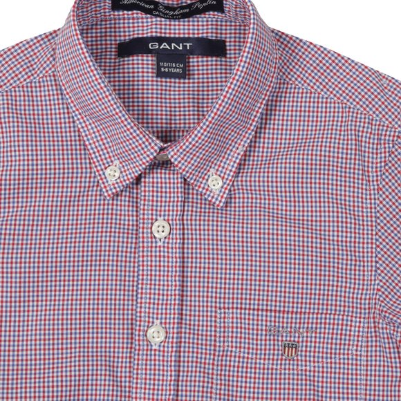 Gant Boys Red American Gingham Poplin Shirt main image