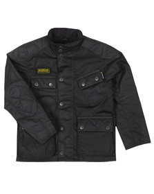 Barbour International Boys Black Boys Selkirk Wax Jacket