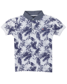 Hackett Boys White Surf Print Polo Shirt