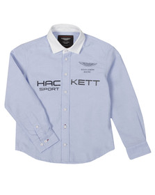 Hackett Boys Blue Aston Martin Racing Large Logo Shirt