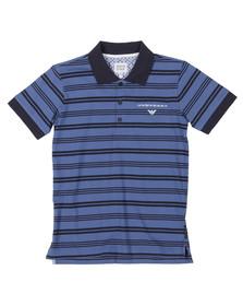 Armani Junior  Boys Blue AXF07 Stripe Polo Shirt