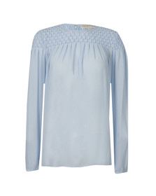 Michael Kors Womens Blue Smocking Top