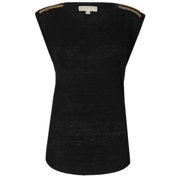 Michael Kors Womens Black Stud Shoulder Top main image