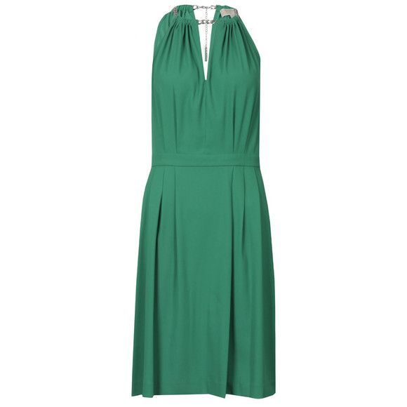 Michael Kors Womens Green Chain Neckline Dress main image