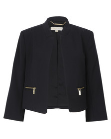 Michael Kors Womens Blue Boxy Cropped Jacket