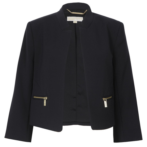 Michael Kors Womens Blue Boxy Cropped Jacket main image