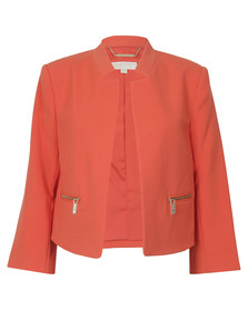 Michael Kors Womens Red Boxy Cropped Jacket