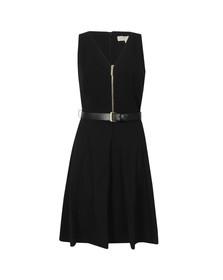 Michael Kors Womens Black Sleeveless Flared Zip Dress