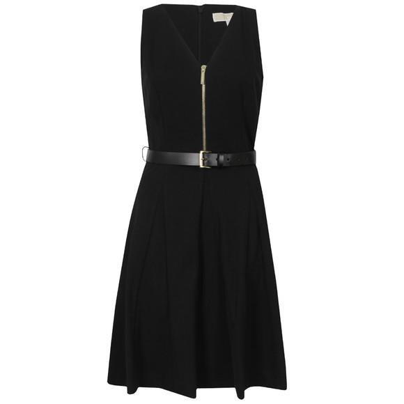Michael Kors Womens Black Sleeveless Flared Zip Dress main image