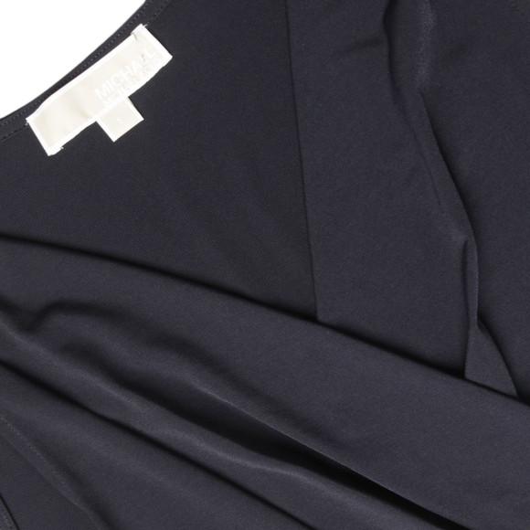 Michael Kors Womens Blue Plate Logo Shirred Dress main image
