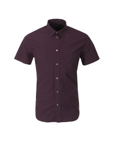 Paul Smith Jeans Mens Red Plain Tailored Fit Short Sleeve Shirt