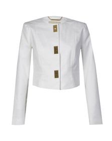 Michael Kors Womens White Cropped Hardware Jacket