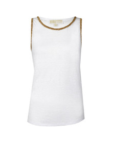Michael Kors Womens White Scoop Neck Studded Tank