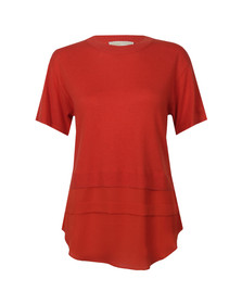Michael Kors Womens Red Woven Hem Sweater