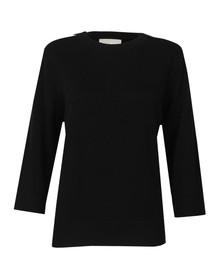 Michael Kors Womens Black 3/4 Sleeve Zip Leather Pocket Top